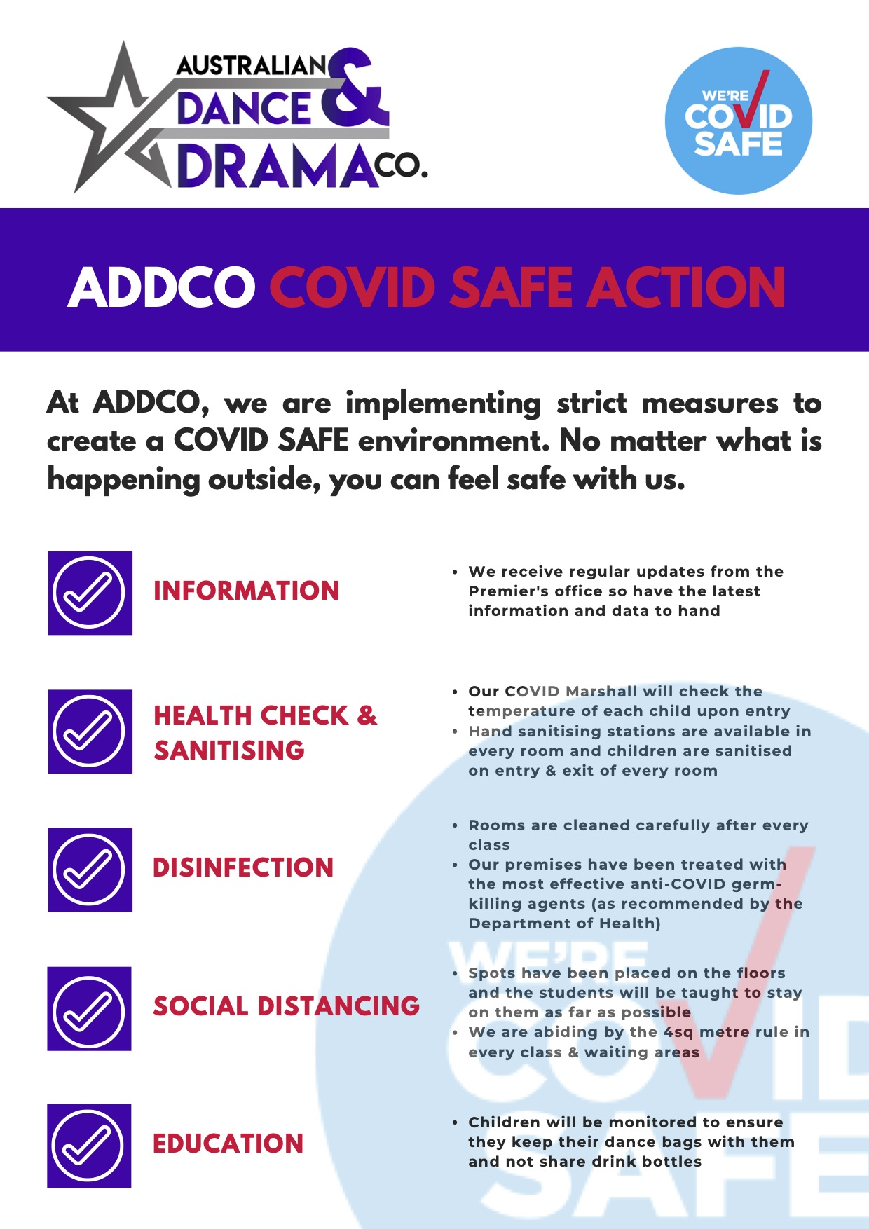 ADDCo covid safe action plan